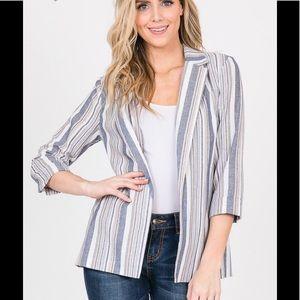 Jackets & Blazers - Denim striped linen blazer
